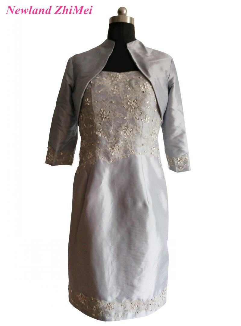 Ucuz Gümüş Diz Boyu anne Ceket ile Gelin Elbise Muhteşem Boncuklu Dantel Tafta Elbise Düğün için