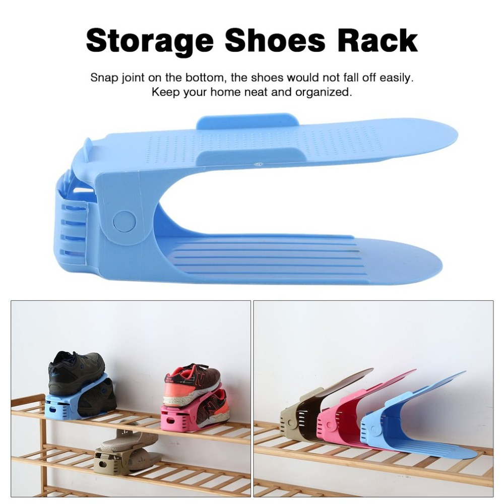 Disciplined Convenient Shoebox Shoes Organizer Stand Shelf Fashion Shoe Racks Modern Double Cleaning Storage Shoes Rack Living Room Bathroom Fixtures