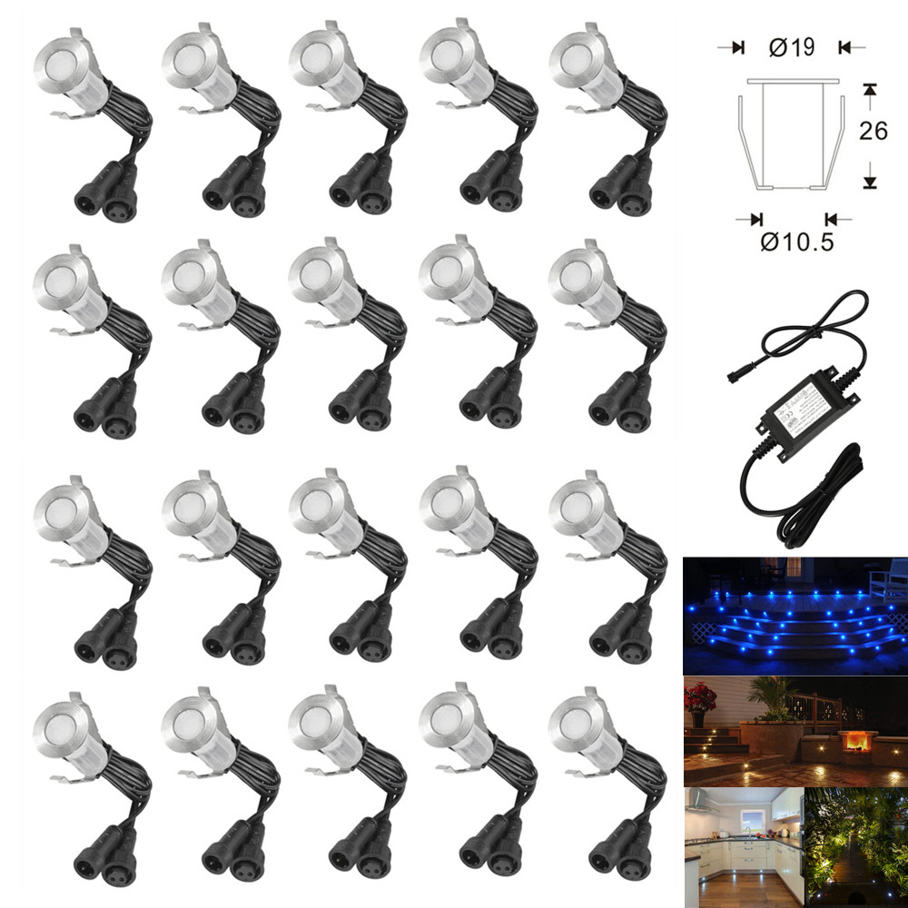 20Pcs 12V 19mm Mini LED Deck Step Stair Kitchen Patio Lights Low Voltage Outdoor Garden Yard Walkway Decoration Lamp + Adapter