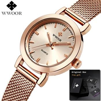 WWOOR Slim Rose golD Mesh Stainless Steel Watches Women Watch Top Brand Luxury Casual Clock Ladies Wrist Watch montre femme дамски часовници розово злато