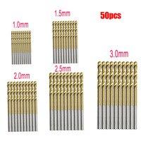 50 個チタンコーティングされた HSS 高速度鋼ドリルビットセットツール 1 ミリメートル 1.5 ミリメートル 2 ミリメートル 2.5 ミリメートル 3 ミリメートルチタンドリル|tool chest|drill tooltool spiral -