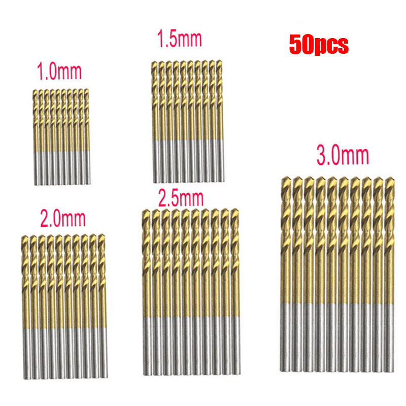 50Pcs Titanium Coated HSS High Speed Steel Drill Bit Set Tool 1mm 1.5mm 2mm 2.5mm 3mm Titanium Drill