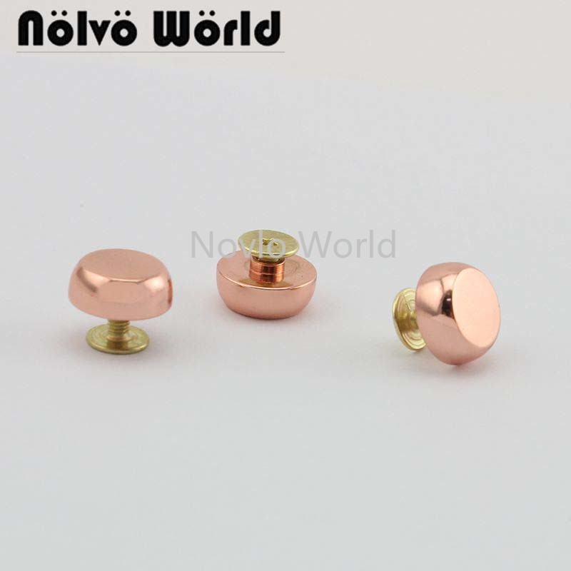 Wholesale 500pcs,10 Mm,rose Gold Metal Rivets Handbag Accessories Thick Flank The Pacifier Nail Luggage Belt Screw Fittings Nail