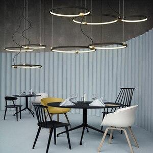 Image 2 - Luz Led colgante de diseño del norte de Europa, círculo creativo para Loft, luces colgantes para comedor, Retro, Hotel, Villa, Deco