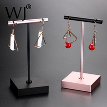 Dangle Earrings Stand Jewelry Display T-Bar Holder Stand Rack Metal Rose Gold Black Silver Jewellery Ear nails Hanger Showcase