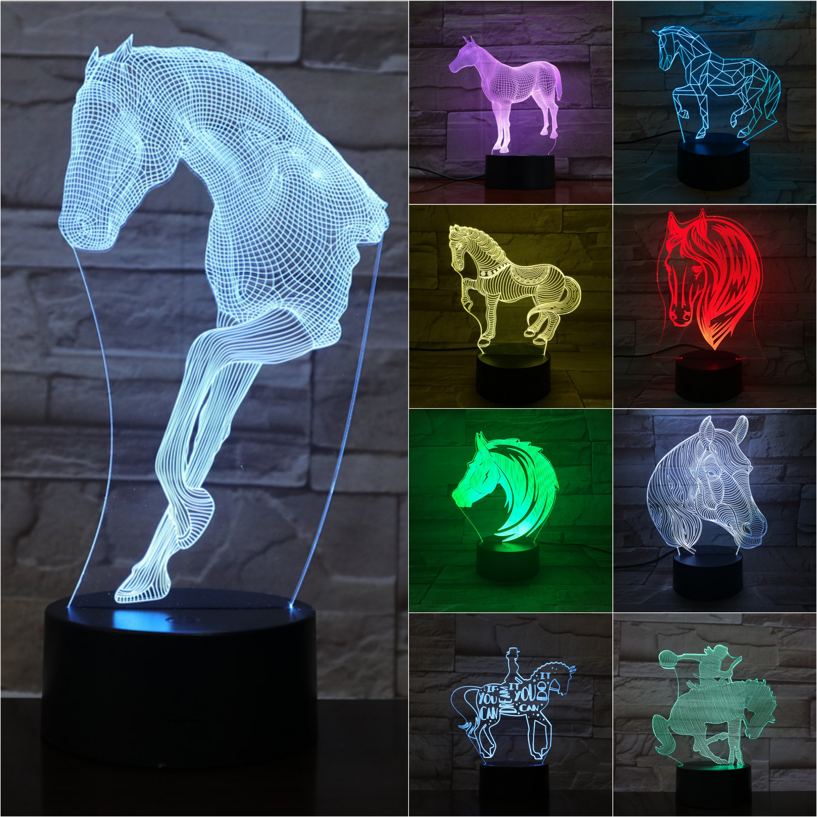 Animal Horse Night Light LED 3D Illusion 7 Color Changing Room Decorative Lamp Child Kid Baby Kit Desk Bedside Gift