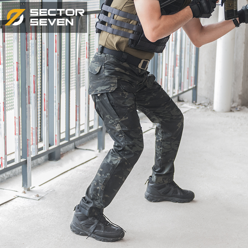 Sector Seven Military Multi Pockets Cargo Pants Dark Camouflage Regular Tactical Pants Active Men's Trousers