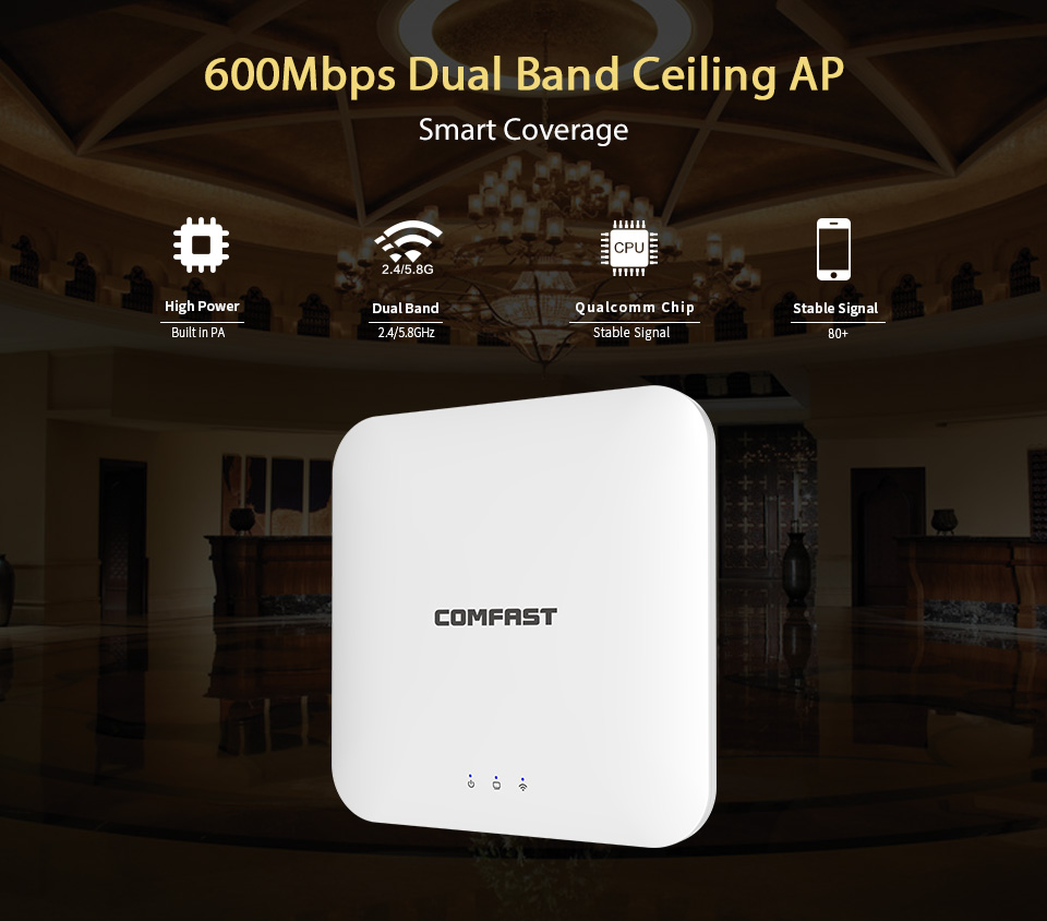 comfast cf e320n 300mbps ceiling ap 802 11b g n wireless ap wifi coverage router 16 flash wifi access point add 48v poe power COMFAST 600M WiFi Ceiling Wireless AP 802.11b/g/n/ac Indoor AP 16 Flash 48V POE OPEN DDWRT Access Point AP Bridge CF-E356A