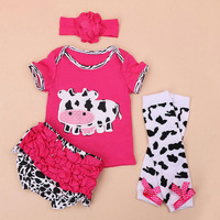 4PCs per Set Cow Milk Outfit Red Pink White Yellow Baby Girls Clothes Tshirt Pants Flower Headband Leggings for 0 24Months