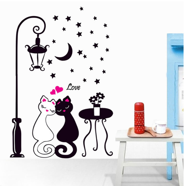 black and white cat lovers sweetheart wall stickers-in wall stickers