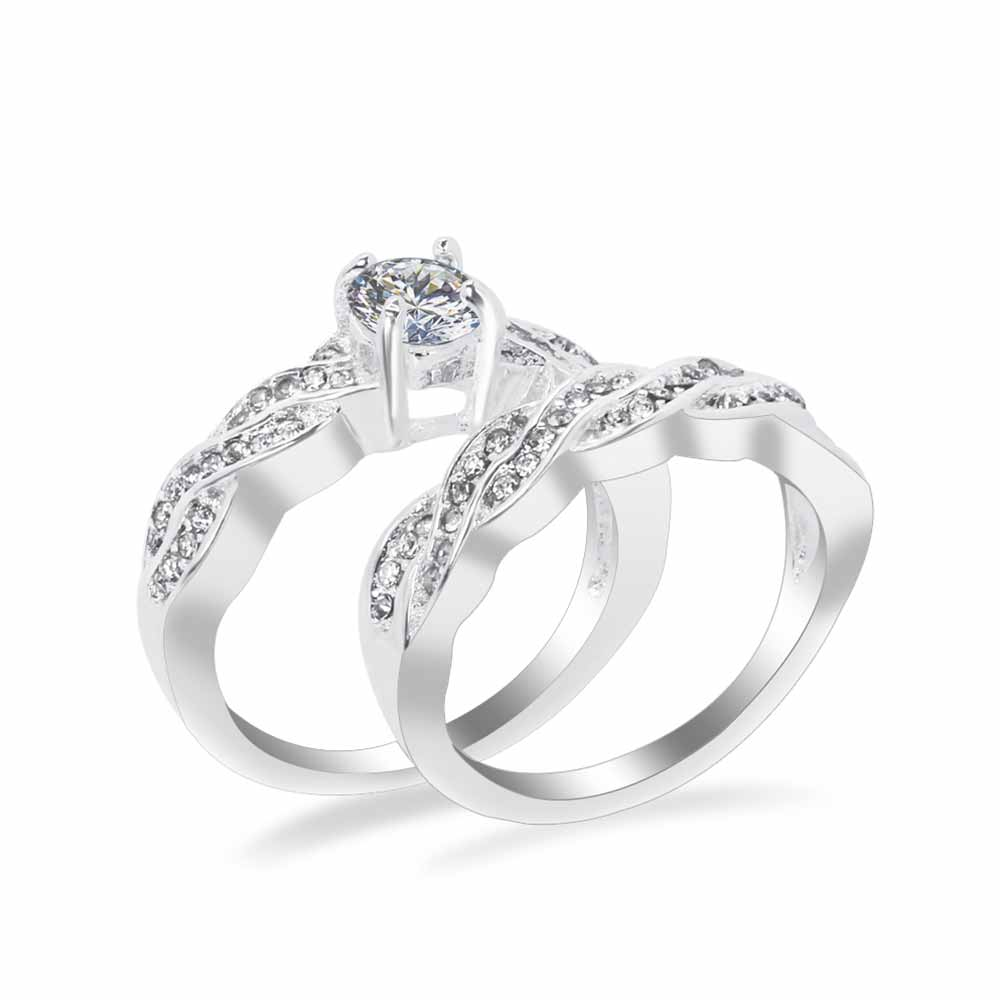 Set Crystal Ring Jewelry Silver Color Wedding Rings For  Women Girls Gift