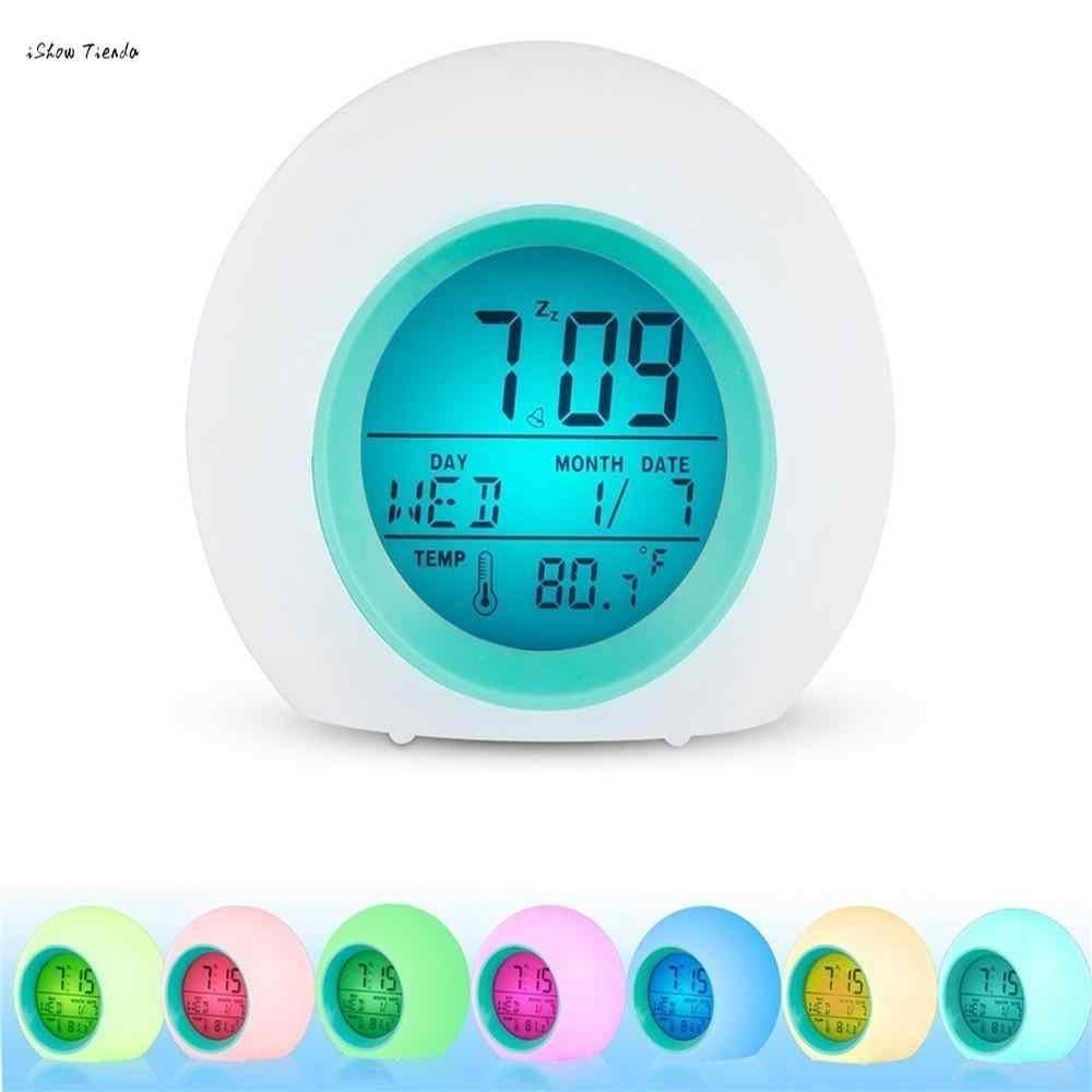 ISHOWTIENDA かわいいアラーム時計アラーム時計 LED 光デジタル温度表示 & サウンドラジオ- 時計