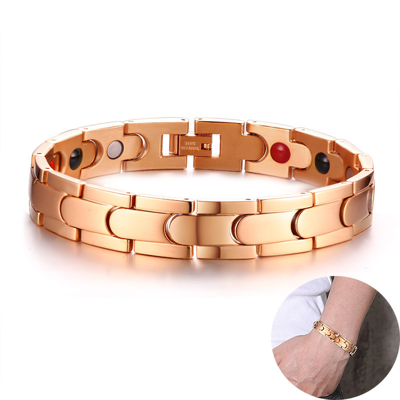Rose Gold Fashionable Jewels Magnetic Balance Therapy Bracelet For Men Stainless Steel Energy Balance Magnets Braslet Jewelry
