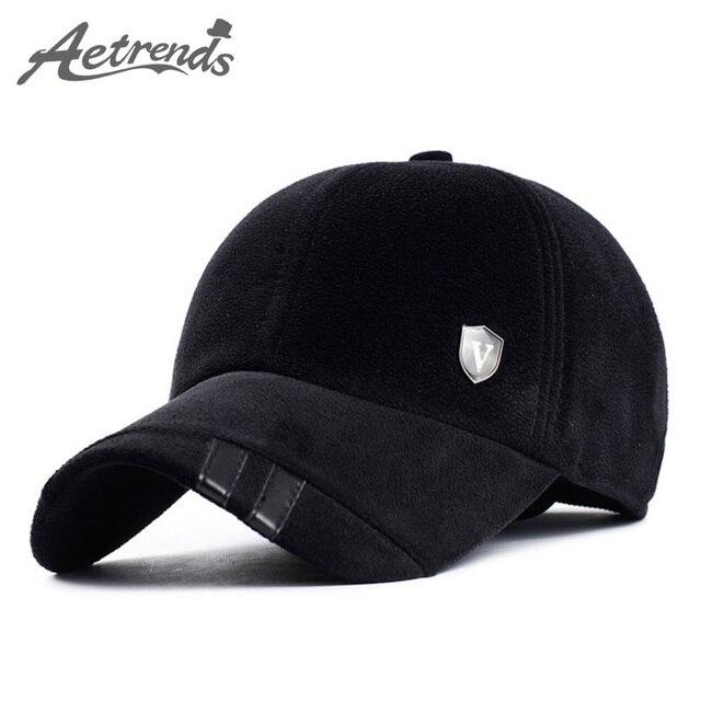 [AETRENDS] Осень Зима Утолщенной Бейсбол Шапочка с Ушками мужская Хлопок Hat Z-2212