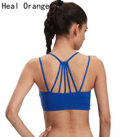 Heal Orange Women Sports Bra Top For Running Sexy Gym Vest Push Up Underwear Fitness Yoga