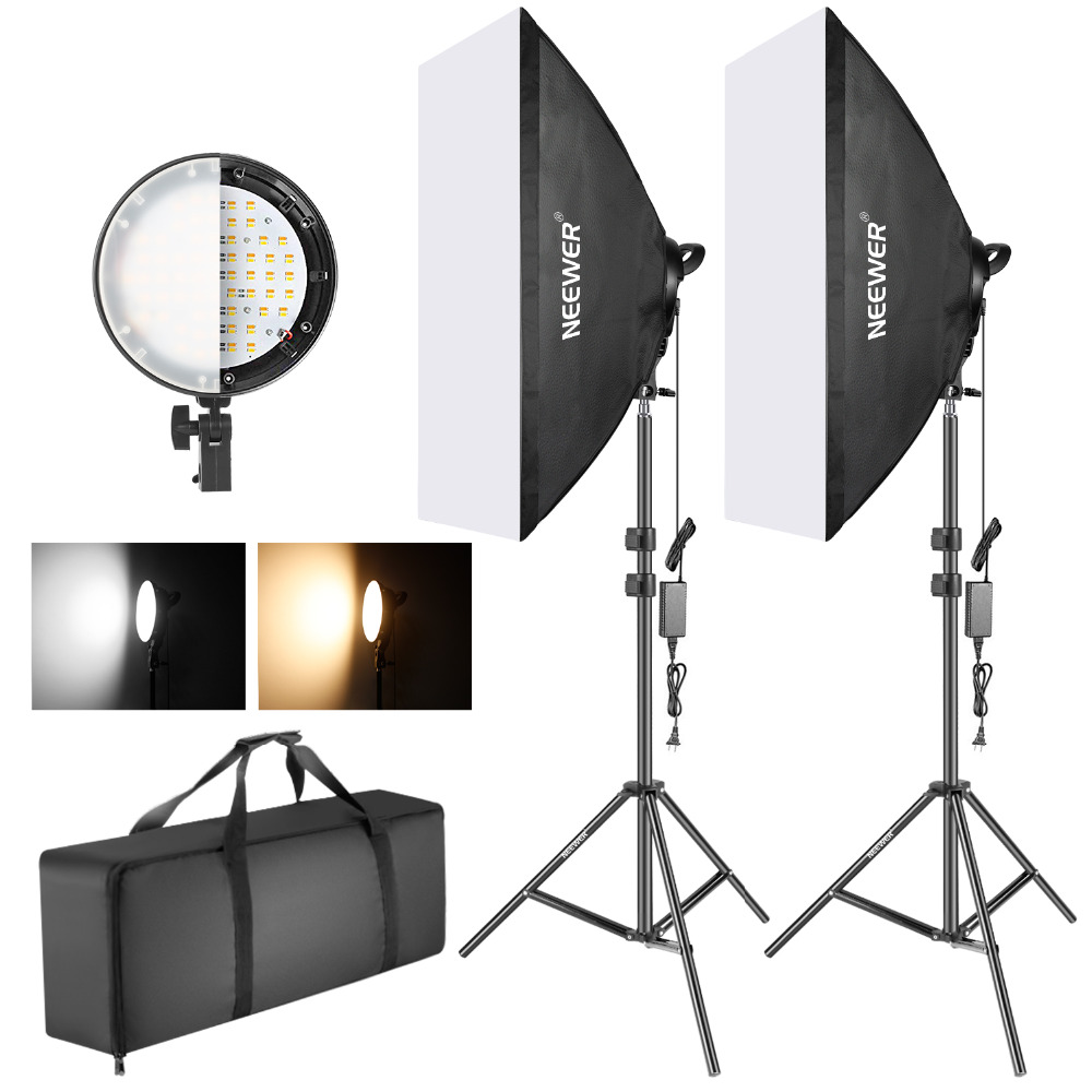 Neewer Photography Bi-color Dimmable LED Softbox Lighting Kit:20x27 Inches Studio Softbox 45W Dimmable LED Light Head 2 Color