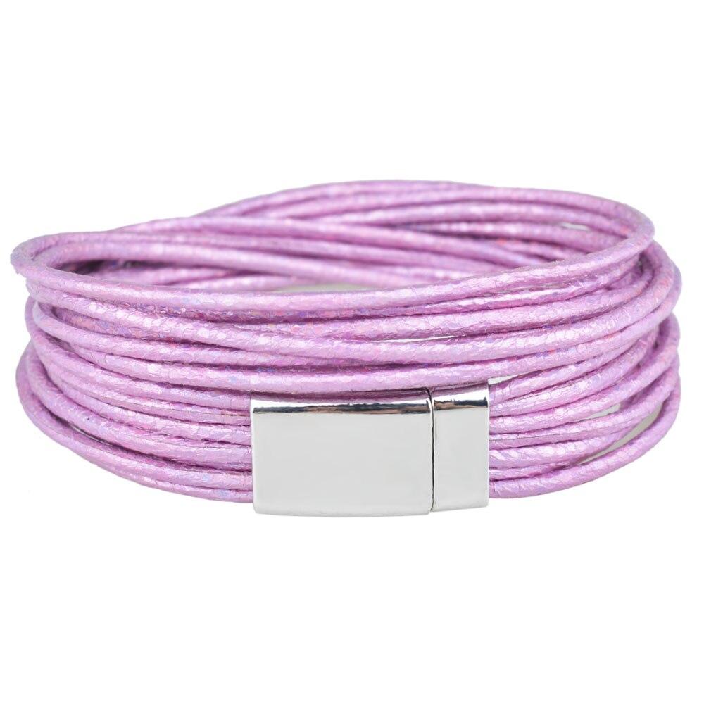 Kirykle-bracelet 4 couleurs métallique pour femmes, en cuir enveloppé multi-couches, fermoir magnétique, bonne qualité, bracelet à breloques