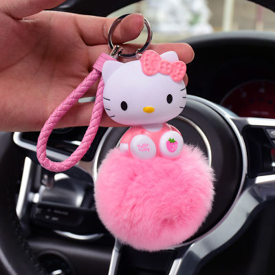 Leather Rope Bear Car Key Charm Cartoon Anime Hello Kitty Lucky Cat Keychain Fluffy Rabbit Fur Pom Bag Key Chain Ring Holder