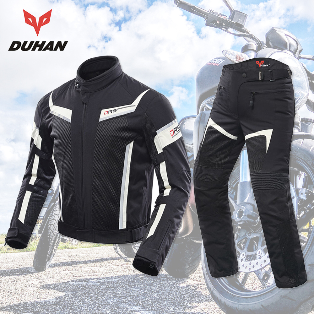 DUHAN Motorcycle Jacket + Motorcycle Pants Breathable Racing Breathable Moto Riding Jackets Motorcycle Clothing Protective Gear все цены