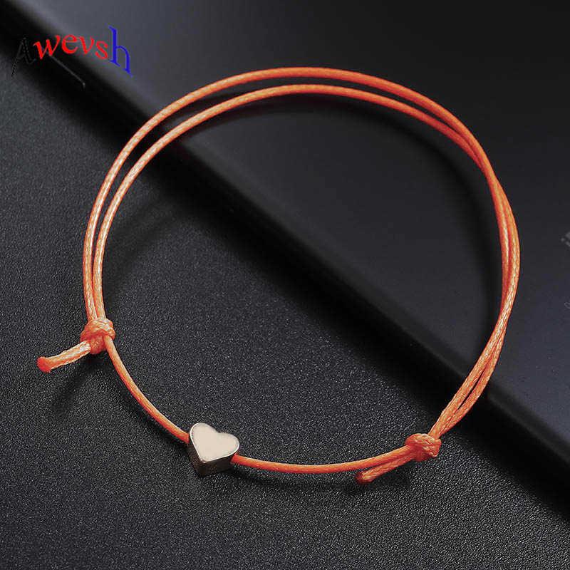 Awevsh nowa moda kolorowe liny łańcuch serce bransoletka na kostkę dla kobiet mężczyzn dziewczyny boso sandały prosta bransoletka kobiet