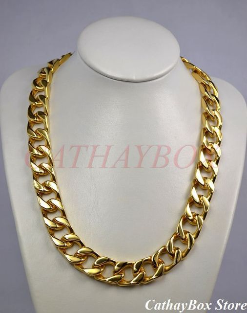 """Men's Chunky Solid Thick All 18KGP Gold Finish Stainless Steel Cuban Curb Chain Necklace 280G 24"""" Long 19MM Wide"""