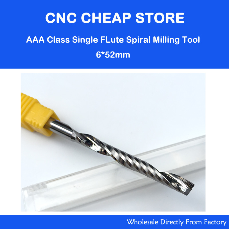 AAA Grade 6*52MM Single Long Flute Bit Carbide End Mill Set, CNC Router End Mills for Wood Cutter Milling, Acrylic Cutting Bits 1pcs 12mm shk one flute end mill cutter spiral bit cnc router tool single flute acrylic carving frezer