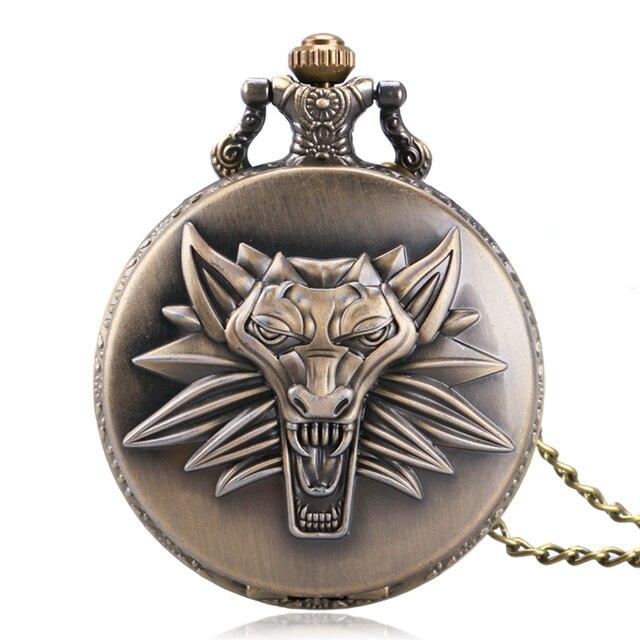 Archaize Bronze The Witcher 3 Wild Hunt Awesome Lion Designer Quartz Pocket Watc