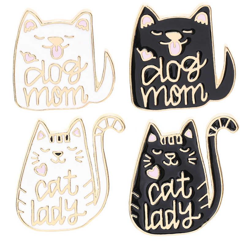 Fashion Perhiasan Pin Bros Hitam Kucing Putih Bros Enamel Kerah Pin Lencana Ransel Aksesoris Pecinta Perhiasan Hadiah