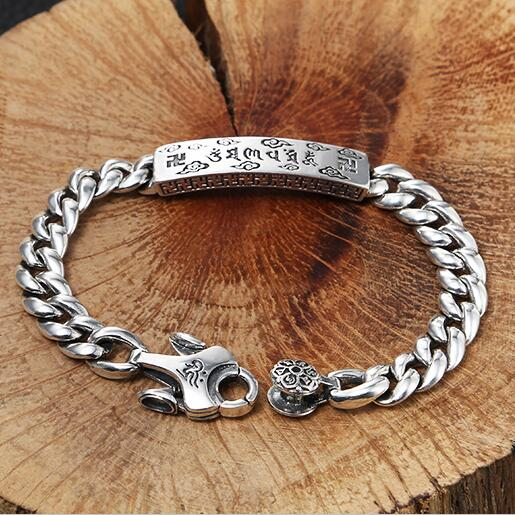 Vintage 100% 925 Silver Tibetan OM Mani Padme Hum Bracelet Sterling Buddhist OM Mantra Chain Bracelet Man Jewelry Women Bracelet цена 2017