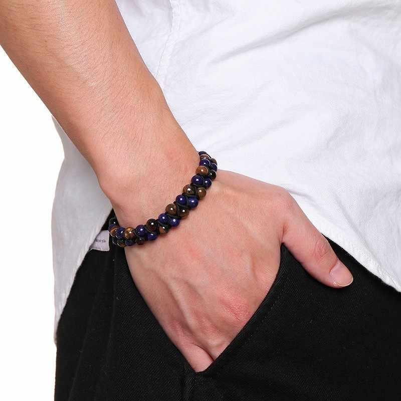 Vnox Vintage Braided Tiger Eye Stone Beads Bracelets for Men Woman Length Adjustable pulseira masculina Tribal Accessory