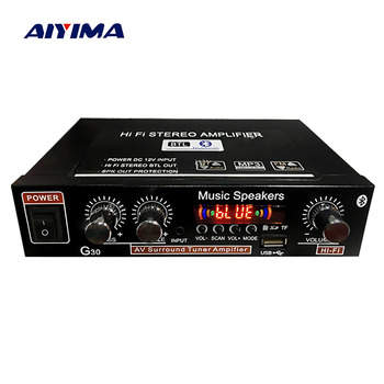 Aiyima 12 V Mobil Amplifier Hi-fi 2.0 Channel Audio Mobil Digital Bluetooth Amplifier Mendukung FM TF Kartu U Disk Remote mobil Rumah
