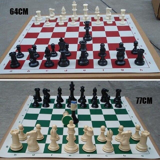 32 pièces d'échecs médiévales/plastique complet Chessmen International mot jeu d'échecs divertissement noir et blanc 64/77MM Chessman 3