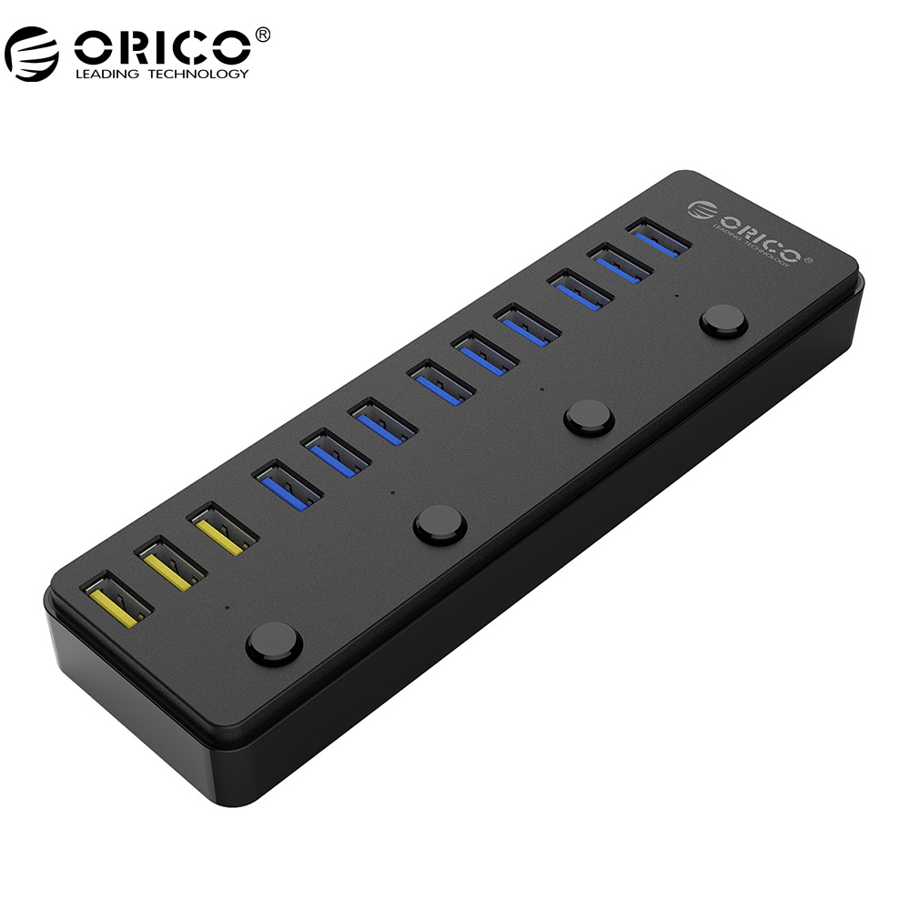 все цены на ORICO P12-U3 USB 3.0 HUB With 12V 5A Power Adapter 60W 12 Ports with 3 Port BC1.2 Charging Ports Desktop Multi-function 3.0 HUB