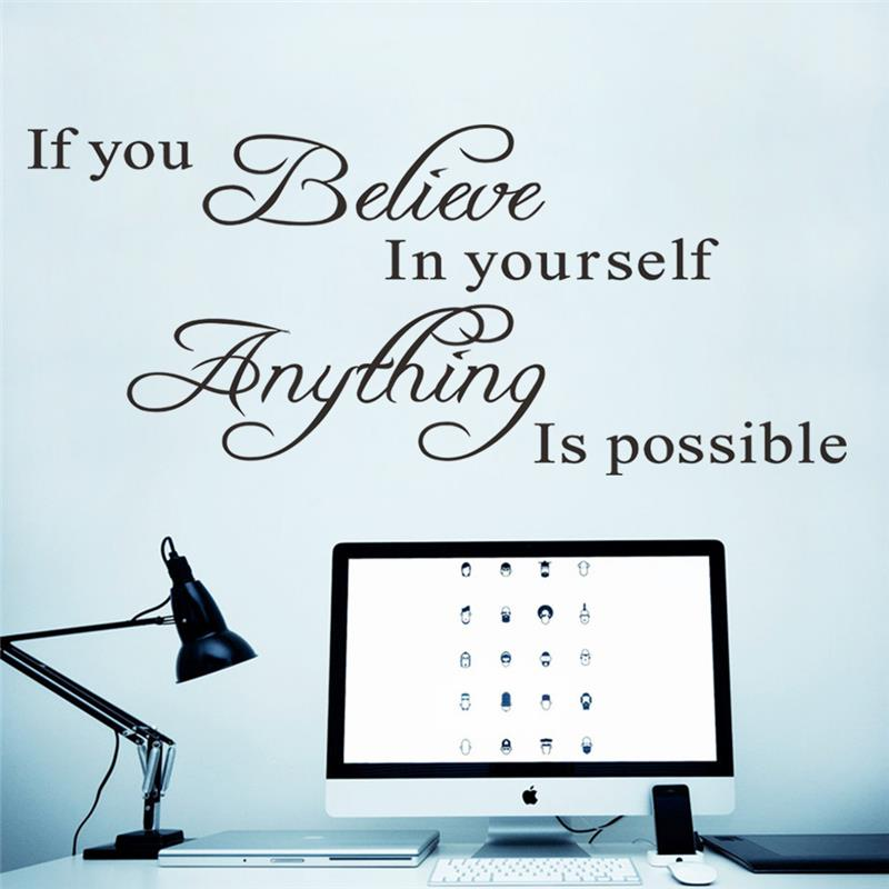 If You Believe In Yourself Inspirational Quotes Wall Stickers Home