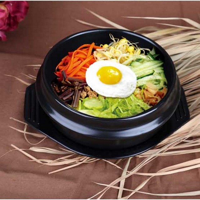 Korean Cuisine Dolsot Stone Bowl For Bibimbap Jjiage Ceramic Soup