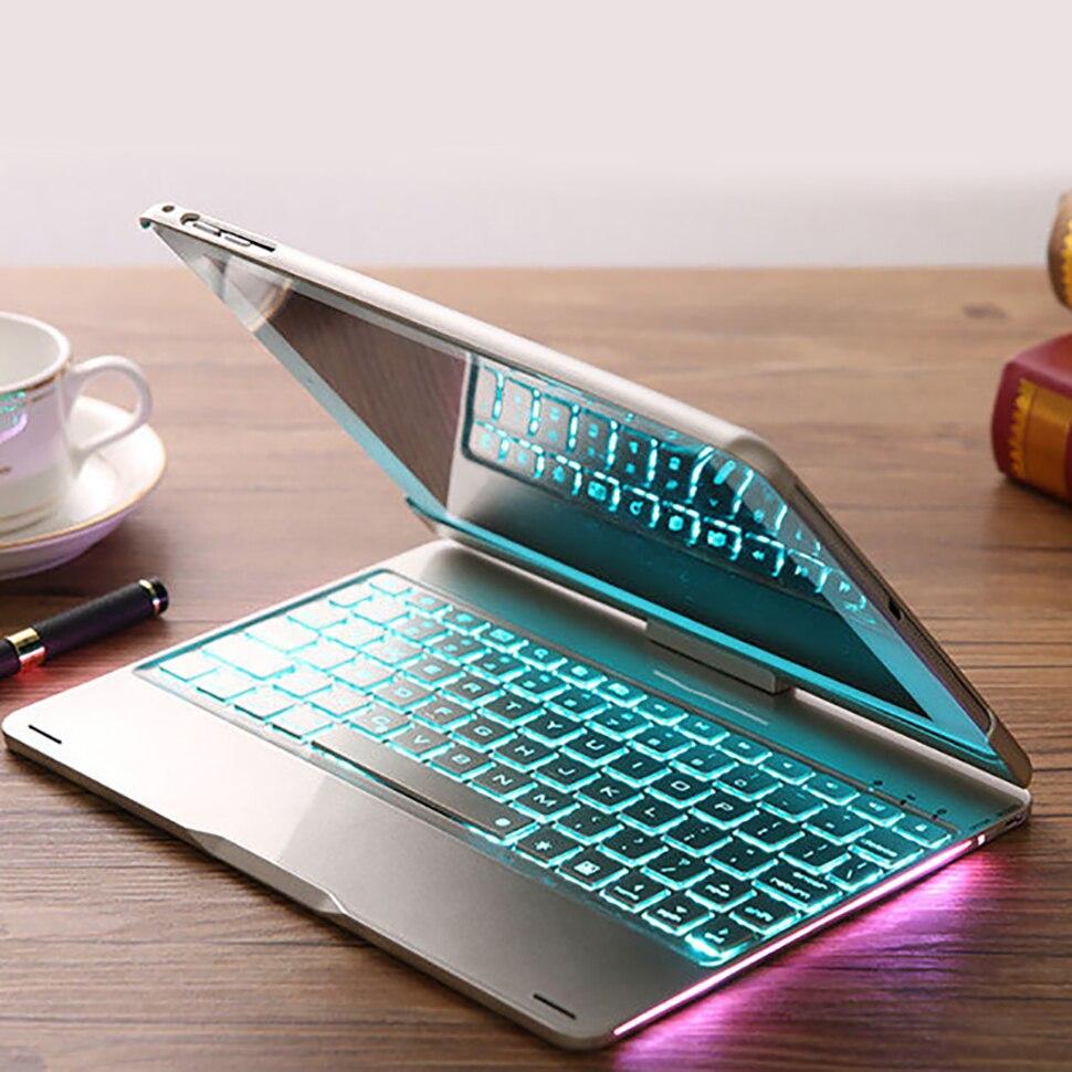 Funda para iPad 9,7 2018, 2017 con teclado 7 Color retroiluminada 360 rotación teclado Bluetooth inalámbrico para iPad 5th 6th