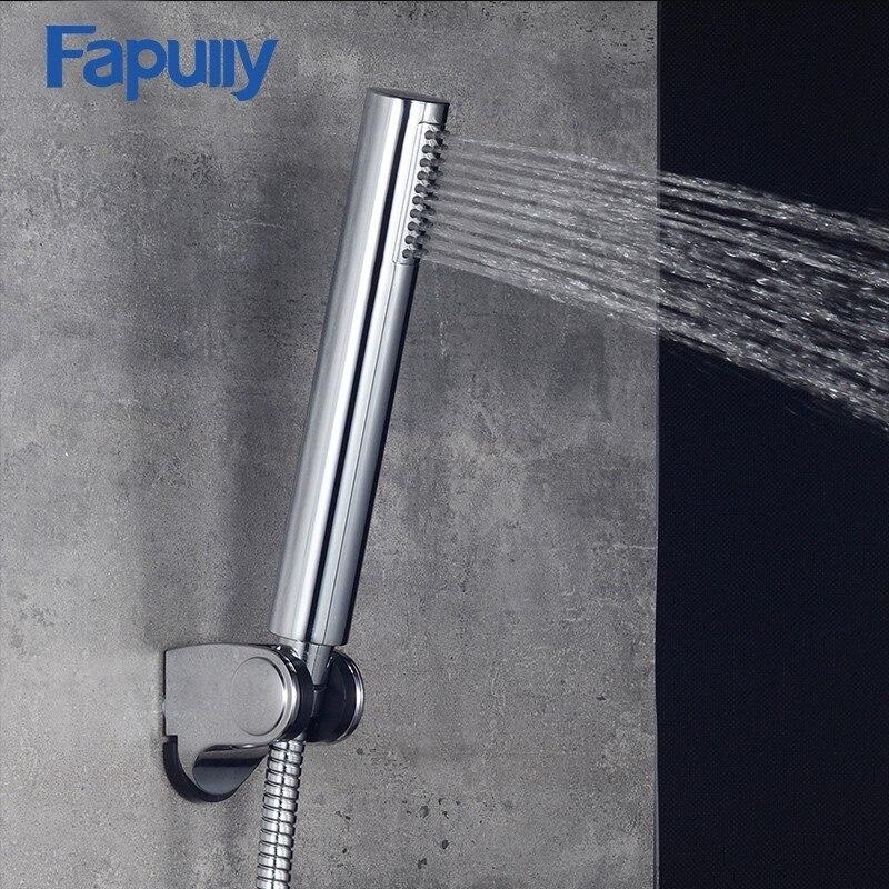 Acessórios Do Banheiro Poupança De Água Chuveiros Chrome Galvanizados Fapully P102-02C Pega ABS Banho Chuveiro de Alta Pressão