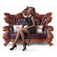 top luxury European and American style solid wood genuine leather sofa set living room furniture
