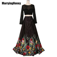 Fashion Two Piece Floral Print A Line Prom Dresses Black Formal Evening Party Dress Ball Gown
