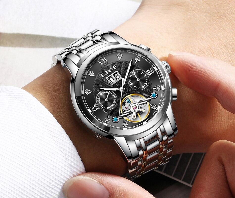 luxo automático relógio mecânico masculino à prova