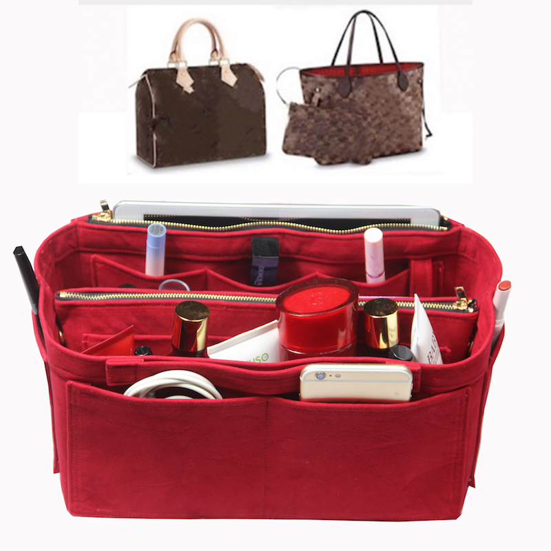 Anpassbare Samt Tasche Organizer Tote Geldbörse Einfügen/Kosmetische Make-Up Windel Sachen/Multi Tasche Tasche in Tasche Organizer Für tote