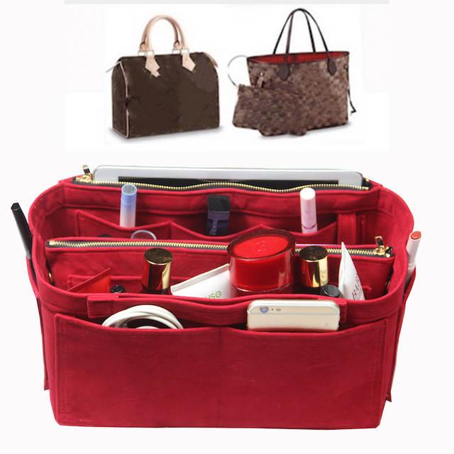 db8e56433d US $26.91 10% OFF|Customizable Velvet Bag Organizer Tote Purse  Insert/Cosmetic Makeup Diaper Belongings/Multi Pocket Bag in Bag Organizer  For Tote-in ...