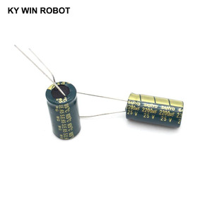 Image 2 - 10 pcs אלומיניום אלקטרוליטי קבלים 2200 uF 25 V 10*20mm frekuensi tinggi רדיאלי אלקטרוליטי kapasitor