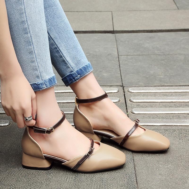 apricot Bout Med Quotidienne Footwears Chaussures noir Bureau Couleur Solide Femmes Talons Beige Carré Dames V104 Sandales D'été zGqUpSMV