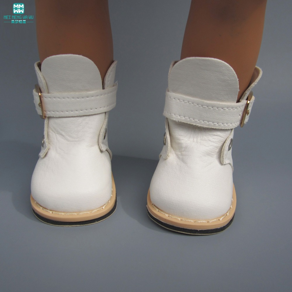 7.5cm White Leather Boots For 43cm New Born Dolls Accessories And American Dolls Accessories Mini Baby Shoes