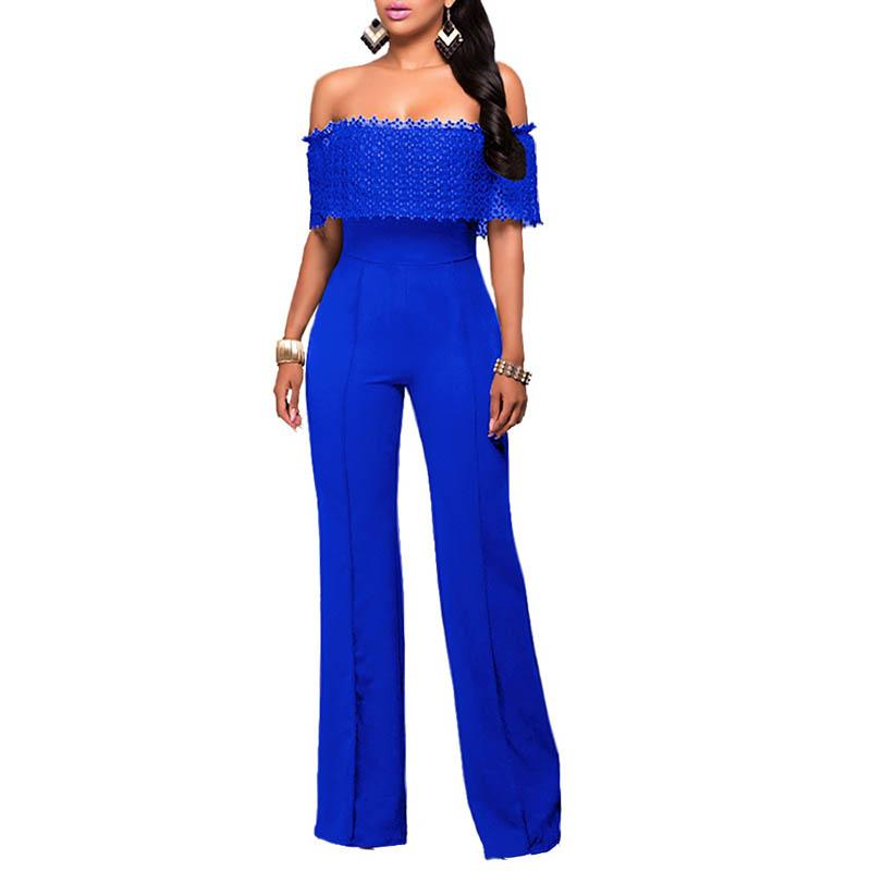 2018 Europe And The United States Bodysuit Women Burst Fashion Women Loose Loose Lace Piece Pants Side Zipper Womens Jumpsuits