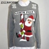 Womens Christmas Sweater 2018 Winter Fashion Ladies Christmas Pullovers Crew Neck Santa Claus Knitting Pattern Free Shipping