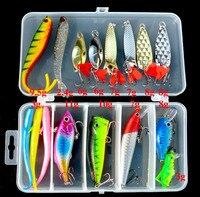 Fishing Lure Bait Set Cucchiaio di Metallo/Minnow/Popper/Wobbler Esca Richiamo Morbido di Pesca Kit Isca Artificiale misto
