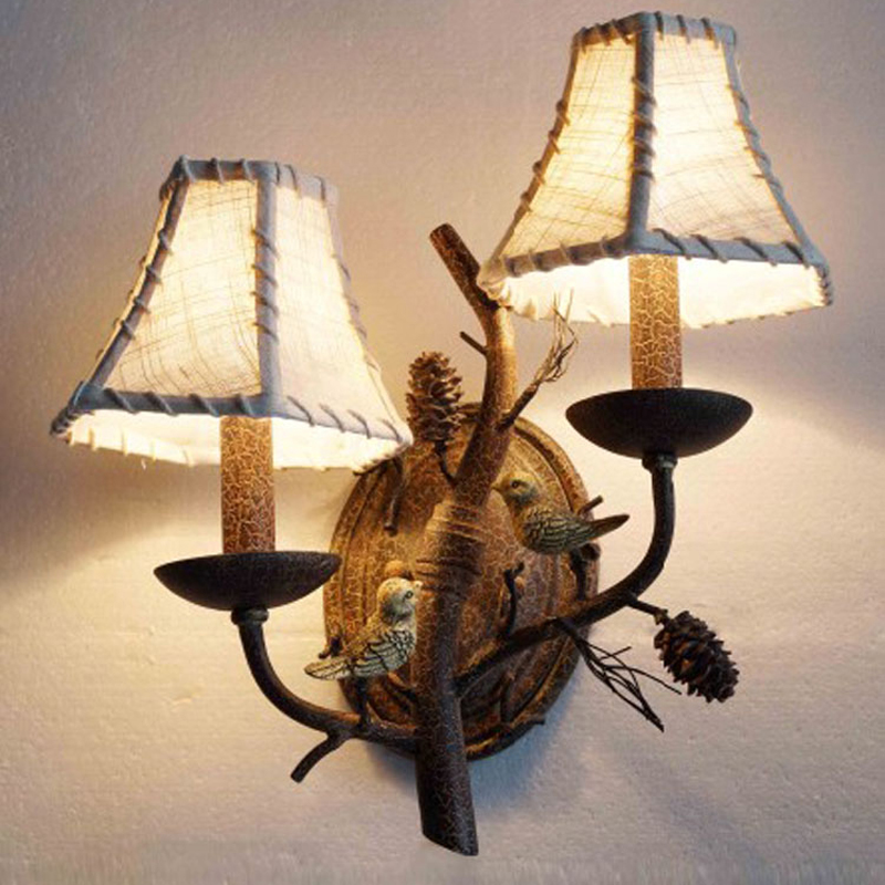 American country bird wall lamp living room bedroom bedside lamp coffee bar iron retro restaurant hotel KTV culb wall lights american village wall lamp nordic bronze glass bird living room bedroom bedside lamp
