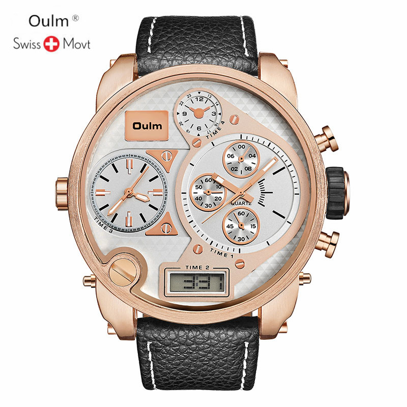 Oulm Mens Watches Top Brand Luxury Quartz Military Watches Men Leather Sports LED Digital Electronic Watch Relogio MasculinoOulm Mens Watches Top Brand Luxury Quartz Military Watches Men Leather Sports LED Digital Electronic Watch Relogio Masculino